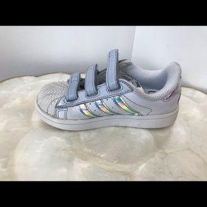 Adidas Superstar White Toddler Velcro Size 7K